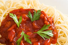 Spaghetti and tomato sauce Royalty Free Stock Photography