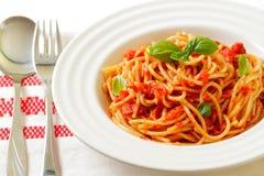 Spaghetti. With tomato sauce and basil Stock Photo
