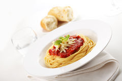 Spaghetti with tomato sauce and basil Royalty Free Stock Photography