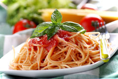 Spaghetti with tomato sauce Stock Photo
