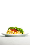 Spaghetti with tomato sauce and basil - vertical Royalty Free Stock Photography