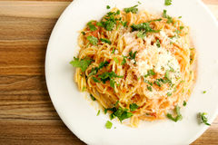 Spaghetti with tomato sauce cheese Stock Photography