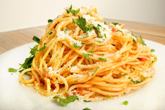 Spaghetti with tomato sauce cheese Royalty Free Stock Photography