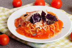 Spaghetti with tomato sauce, cherry tomatoes and cheese Royalty Free Stock Photo