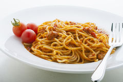 Spaghetti tomato sauce and chicken. Spaghetti in tomato sauce and chicken stock photo