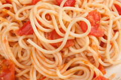 Spaghetti with tomato sauce Stock Images