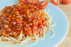 Spaghetti with tomato sauce on dish Royalty Free Stock Images