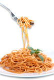 spaghetti with tomato sauce, isolated. Royalty Free Stock Image