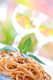 spaghetti with tomato sauce, isolated. Stock Photography