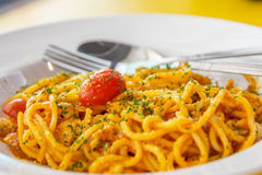 Spaghetti with tomato sauce stock photography