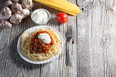 Spaghetti with tomato sauce. Spaghetti with tomato sauce and meat Royalty Free Stock Images