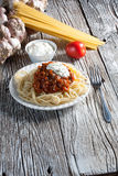 Spaghetti with tomato sauce. Spaghetti with tomato sauce and meat Stock Photo