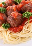 Spaghetti, tomato sauce and meat balls Stock Images