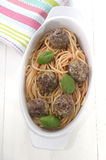 Spaghetti in tomato sauce and meat balls Royalty Free Stock Images