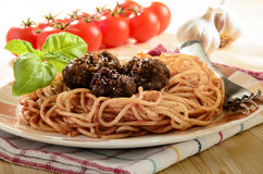 Spaghetti with tomato sauce and meat balls Royalty Free Stock Photography