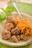 Spaghetti with tomato sauce and meat balls Royalty Free Stock Photo