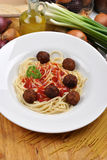 Spaghetti with tomato sauce and meatballs Stock Images