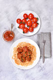 Spaghetti with tomato sauce and meatballs Stock Photography