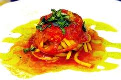 Spaghetti in tomato sauce Pachino. Italian spaghetti in tomato sauce with tomatoes and basil Royalty Free Stock Photography