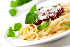 Spaghetti with tomato sauce and parmesan Stock Images