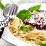 Spaghetti with tomato sauce and parmesan Stock Image