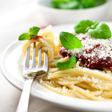 Spaghetti with tomato sauce and parmesan royalty free stock images