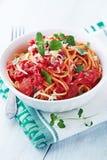 Spaghetti with tomato sauce and parmesan Stock Photo