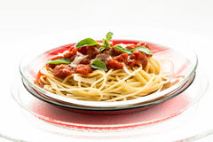 Spaghetti with tomato sauce and parmesan cheese Stock Photos
