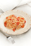 spaghetti and tomato sauce royalty free stock image