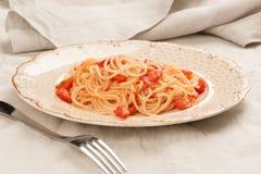 Spaghetti with tomato sauce stock image