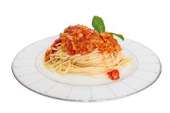 Spaghetti with tomato sauce. Royalty Free Stock Photography
