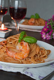 Spaghetti in tomato sauce. Romantic dinner concept Royalty Free Stock Photography