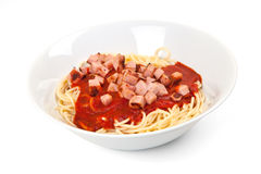 Spaghetti, tomato sauce and sausage Royalty Free Stock Photography