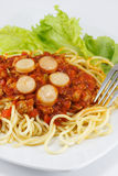 Spaghetti with Tomato Sauce. And Sliced Sausages Royalty Free Stock Photos