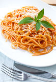 Spaghetti with tomato sauce  on table Stock Photo
