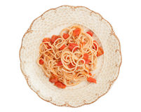Spaghetti and tomato sauce on white background Stock Photo