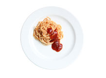 Spaghetti with tomato sauce on white background. Stock Images