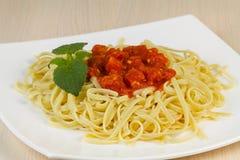 Spaghetti with tomato sauce. Royalty Free Stock Photos