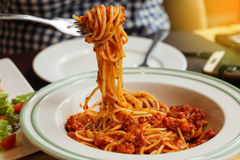 Spaghetti with tomato sauce in white plate Stock Image