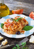 Spaghetti with tomato sauce Stock Image