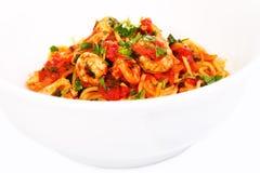 Spaghetti tomato seafood dish Stock Photography