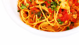 Spaghetti tomato seafood dish top view Stock Photography