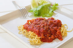 Spaghetti with tomato source. Stock Image