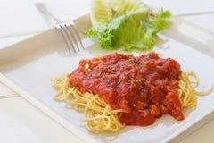 Spaghetti with tomato source. Stock Image