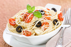 Spaghetti With Tomatoes Stock Photo