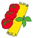 Spaghetti, tomatoes and basil. stock illustration