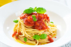 Spaghetti with tomatoes Stock Image
