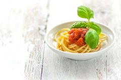 Spaghetti with tomatoes Royalty Free Stock Photos