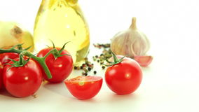 Spaghetti tomatoes garlic oil olive basil, italian food background stock video