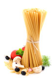 Spaghetti  with tomatoes and mushrooms Stock Photos